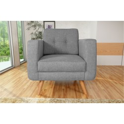 Fauteuil Tissu - HEDWIG gris clair 4