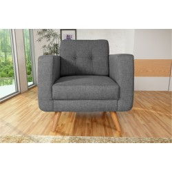 Fauteuil Tissu - HEDWIG gris fonce 4