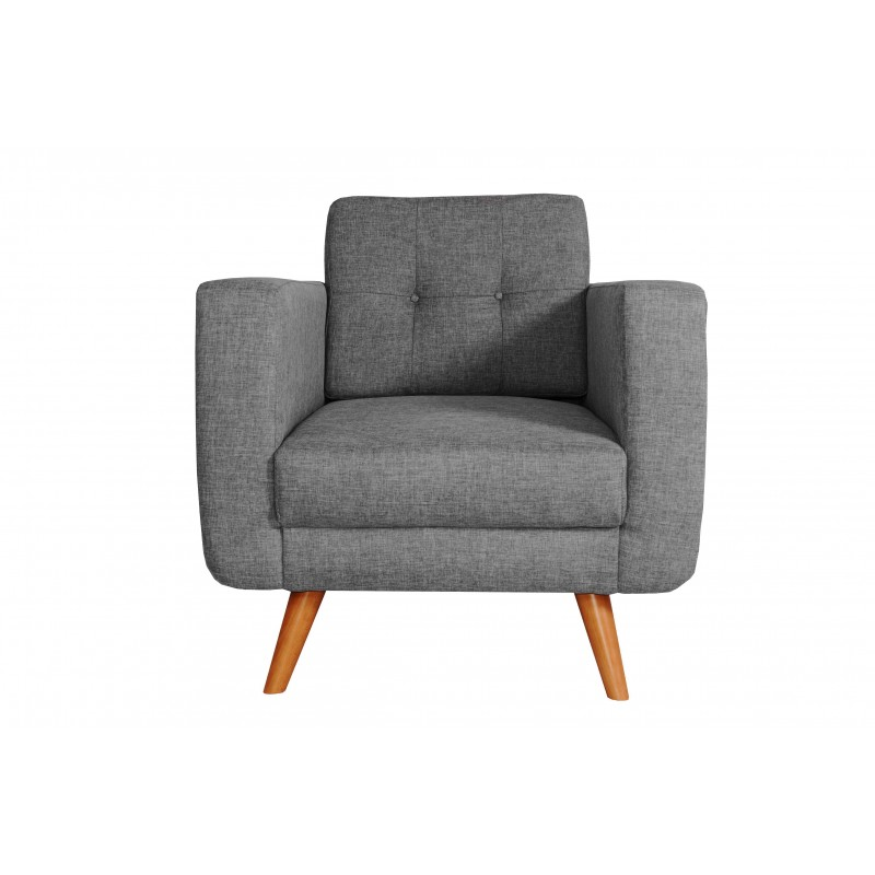 Fauteuil Tissu - HEDWIG gris fonce 1