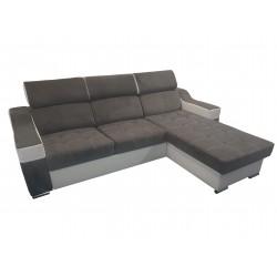Canapé Angle Conertible Réversible + Coffre - CALYS gris foncé 1
