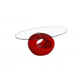 Table Basse Ovale Blanche - RONDO rouge