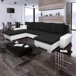 Canapé Convertible + Coffre - ALAMA MAX noir et blanc 2