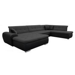 Canapé Panoramique Convertible VERONA gris foncé et noir AD 1