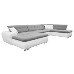 Canapé Panoramique Convertible VERONA gris clair et blanc AD 1