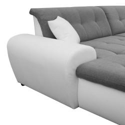 Canapé Panoramique Convertible VERONA gris clair et blanc AD 4