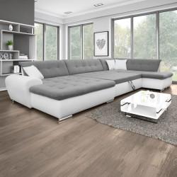 Canapé Panoramique Convertible VERONA gris clair et blanc AD 3