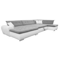 Canapé Panoramique Convertible VERONA gris clair et blanc AD 6