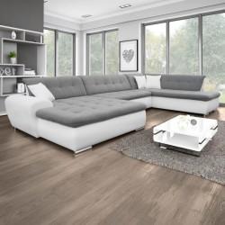 Canapé Panoramique Convertible VERONA gris clair et blanc AD 2