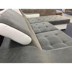 Canapé Angle Conertible Réversible + Coffre - CALYS gris foncé 5