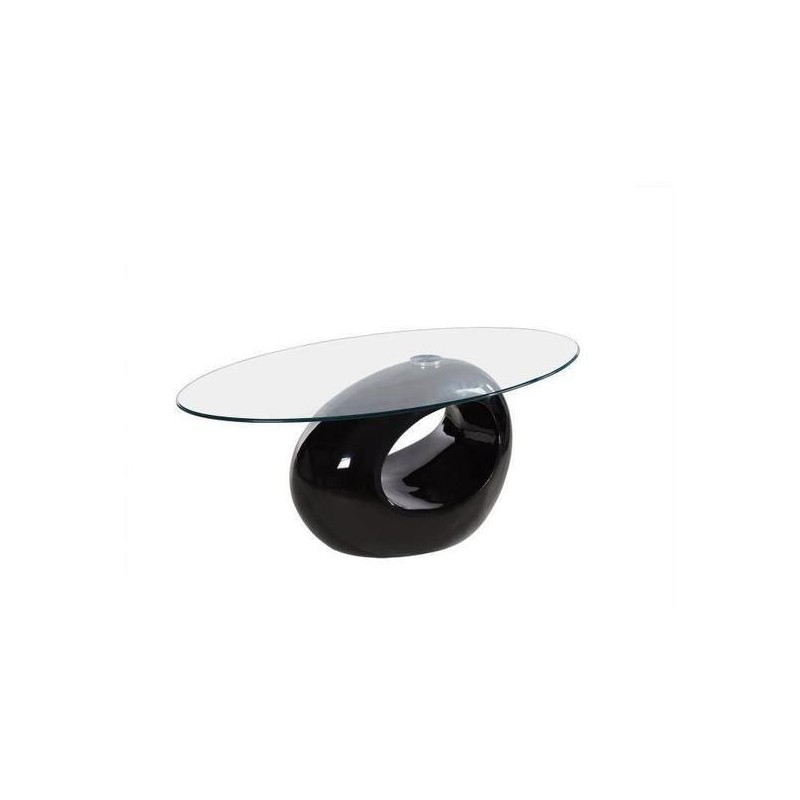 Table Basse Ovale Blanche - RONDO noir
