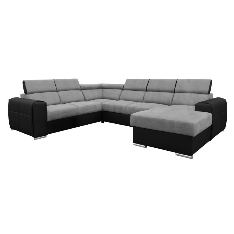 Canapé Panoramique Convertible Coffre - Gris clair Noir Gauche - ELISA 1
