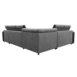 Canapé Panoramique Convertible Coffre - Gris clair Noir Gauche - ELISA 6