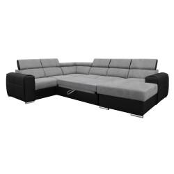 Canapé Panoramique Convertible Coffre - Gris clair Noir Gauche - ELISA 4