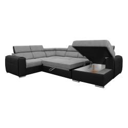 Canapé Panoramique Convertible Coffre - Gris clair Noir Gauche - ELISA 5