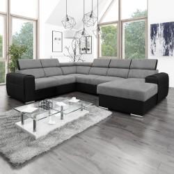 Canapé Panoramique Convertible Coffre - Gris clair Noir Gauche - ELISA 2