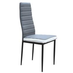 Chaise de Salon - PRIMO simili gris et blanc