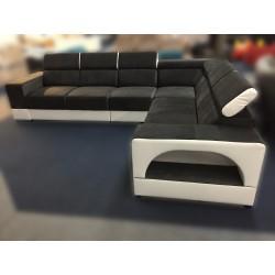 Canapé Angle Convertible 5 Places - RAFAELLO gris foncé et blanc 2