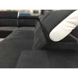 Canapé Angle Convertible 5 Places - RAFAELLO gris foncé et blanc 3