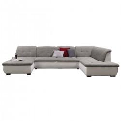 Canapé panoramique angle droit gris/blanc ROXANE 1