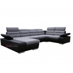 Canapé XL angle droit gris clair / noir 1