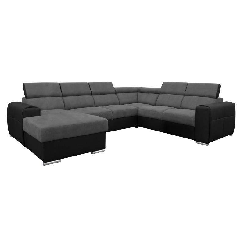 Canapé Panoramique Convertible Coffre - Gris foncé Noir Droit - ELISA 1