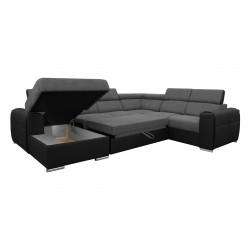 Canapé Panoramique Convertible Coffre - Gris foncé Noir Droit - ELISA 5