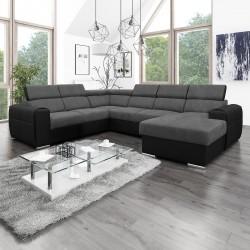 Canapé Panoramique Convertible Coffre - Gris foncé Noir Droit - ELISA 2
