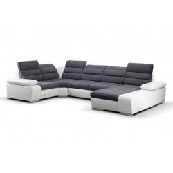 Canapé XL angle gauche gris foncé / blanc 1