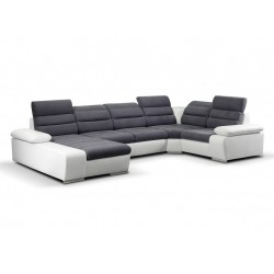 Canapé XL angle droit gris foncé / blanc 1