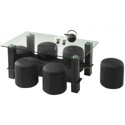 Table Basse Rectangulaire avec 6 Poufs - PULSTAR 1