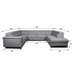 Canapé panoramique angle gauche dimension - DALLAS