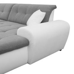 Canapé Panoramique Convertible VERONA gris clair et blanc 10