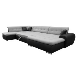 Canapé Panoramique Convertible VERONA gris clair et noir 3