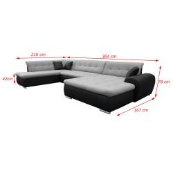 Canapé Panoramique Convertible VERONA gris clair et noir 6