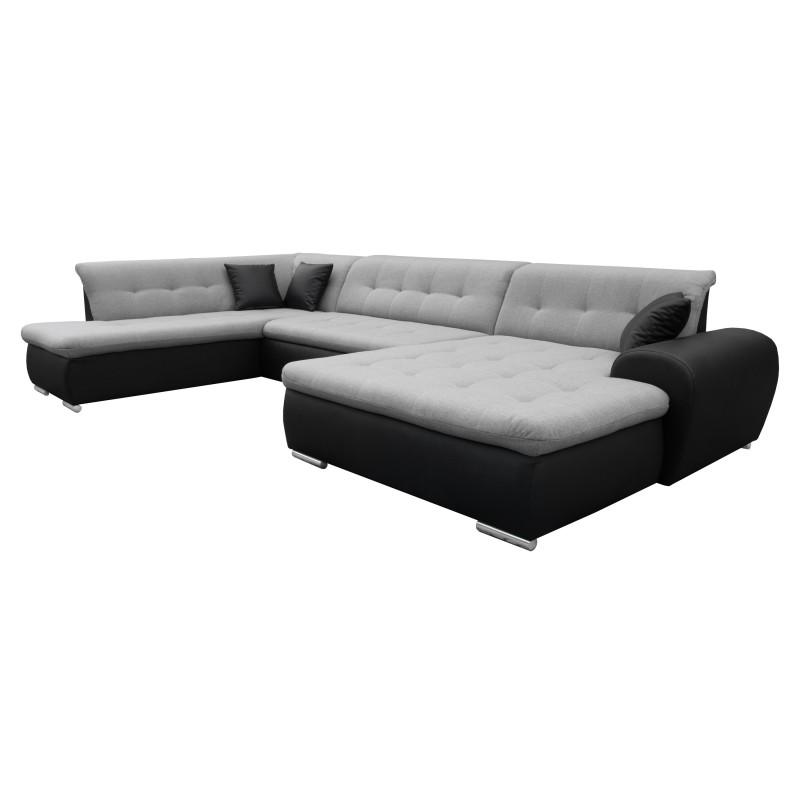 Canapé Panoramique Convertible VERONA gris clair et noir 7