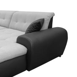 Canapé Panoramique Convertible VERONA gris clair et noir 8