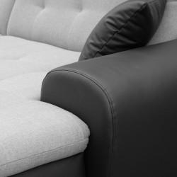 Canapé Panoramique Convertible VERONA gris clair et noir 9