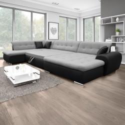 Canapé Panoramique Convertible VERONA gris clair et noir 10