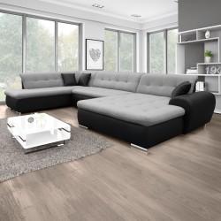 Canapé Panoramique Convertible VERONA gris clair et noir 11