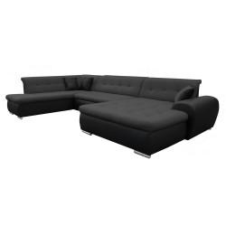 Canapé Panoramique Convertible VERONA gris foncé et noir 1