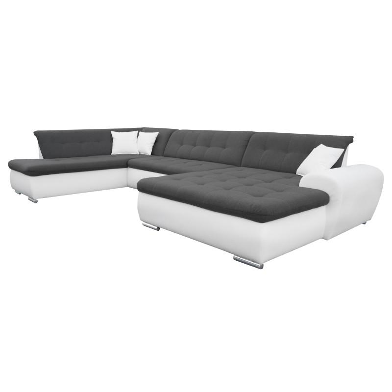 Canapé Panoramique Convertible VERONA gris foncé et blanc 1