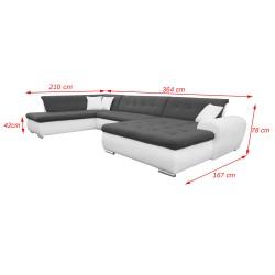 Canapé Panoramique Convertible VERONA gris foncé et blanc 8