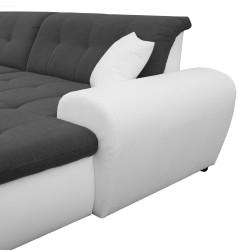 Canapé Panoramique Convertible VERONA gris foncé et blanc 9