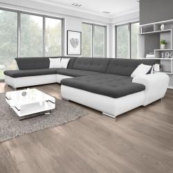 Canapé Panoramique Convertible VERONA gris foncé et blanc 2