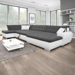 Canapé Panoramique Convertible VERONA gris foncé et blanc 11