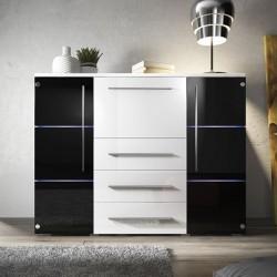 Meuble Bahut - BARI noir et blanc