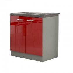 Meuble Evier Placards bas cuisine SCARLETT 80 rouge