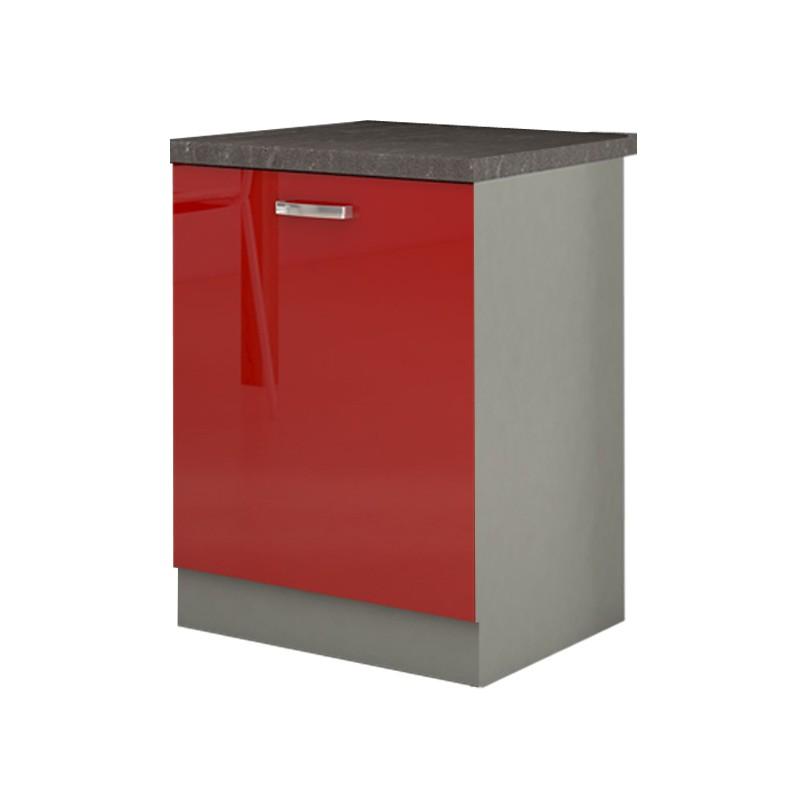 Meuble 1 Placard Bas Cuisine SCARLETT 60 Rouge